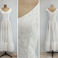 1950s Dress - Vintage 50s White Organdy & Cut Out Gown - Aurora Dress