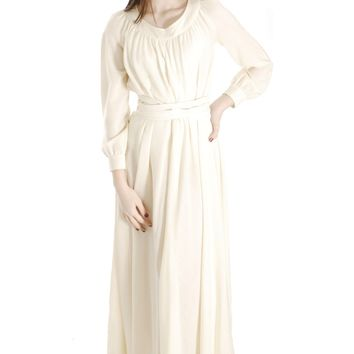 Vintage Vuokko Designer Dress 1970s  Ivory Wool Voile Maxi TENT Gown Wedding 1970s XXS