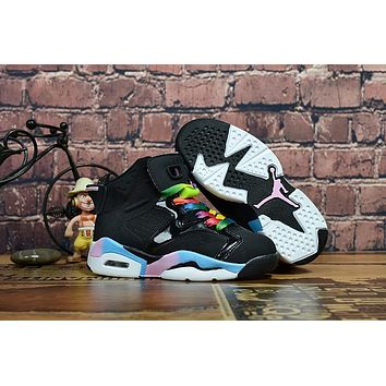 Kids Air Jordan 6 Black Colorful Sneaker Shoe Size US 11C-3Y