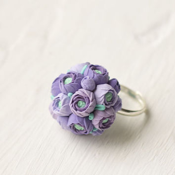 Purple valentine - Flower ring - adjustable ring - ring flower - lilac lavender - flower jewelry - spring wedding - bouquet ring