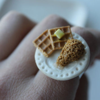 Chicken and Waffles Ring; Polymer Clay Food Jewelry