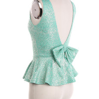 Sparkle Peplum Plunge Back  Bow Tank - Mint