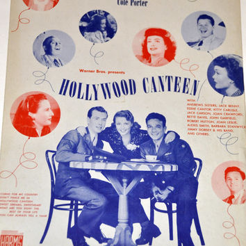 """Vintage Sheet Music. Don't Fence Me In. Lyrics & Music by Cole Porter From Warner Brothers' """"Hollywood Canteen."""" 1944 Retro Gift 4 Musician."""
