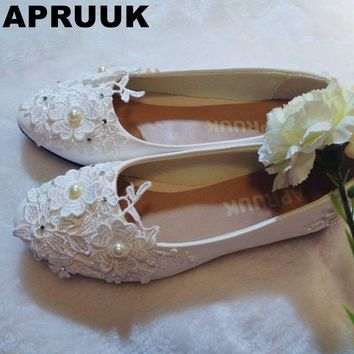 Flats wedding shoe white light ivory lace flower sweet lace flats shoe handmade woman's wedding flat shoe