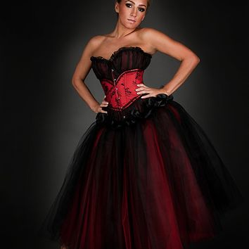 f86d04c5bbe Custom Size red and black lace tea length burlesque corset Prom dress