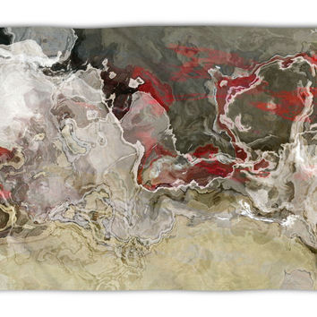 Abstract Art plush fleece throw, 50x60 and 60x80, coral fleece blanket in warm gray and red, Benediction