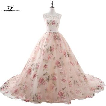 TIANMIYUEDING Long Evening Dresses With Lace Appliques Printed Floral Formal Prom Dress For Women Real Photo Robe De Soiree