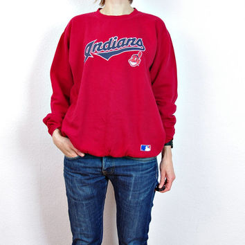 INDIANS Major League Baseball Sweatshirt. Cleveland Crewneck. Boyfriend Oversized Hoodie. Size L - XL