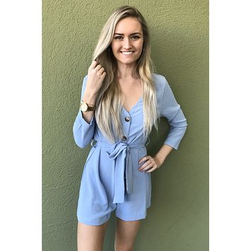 New You Romper- Light Blue