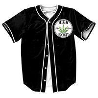 Mens Black 3D Shirts Casual With Button Overshirt High Society Jersey Streetwear Baseball Jersey Hip Hop Weed Tees Tops