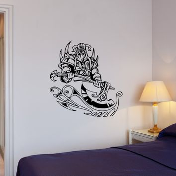 Wall Decal Viking Warrior Middle Ages Barbarian Ax Vinyl Sticker (ed1186)