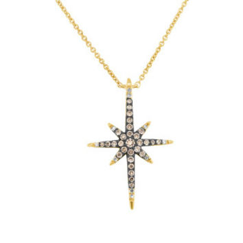 0.24ct 14k Yellow Gold White & Champagne Diamond North Star Necklace