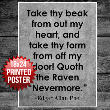 Quoth The Raven Nevermore Edgar Allan Poe Typography Art Poster Print