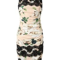 DOLCE & GABBANA Ruched Crepe and Lace Floral Printed Dress