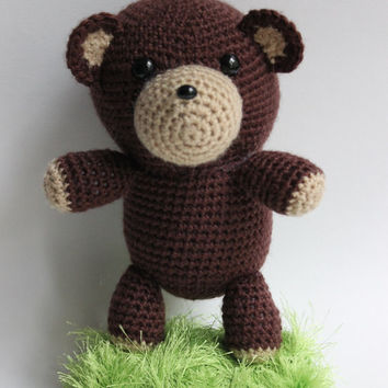 "8"" Crocheted Stuffed Animal, Crochet Stuffed Teddy Bear, Amigurumi Stuffed Bear, Crocheted Plush Doll, Hand-made Stuffed Bear, Crochey"