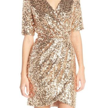 French Connection Sequin Mesh Faux Wrap Dress   Nordstrom