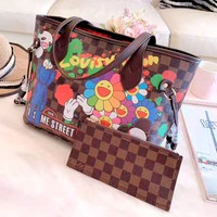Free shipping-LV women's new shopping bag handbags mother bag two-piece