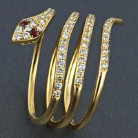 0.50ct Round Full Cut Diamond in 14K Yellow Gold Serpent of Slytherin Snake Wrap Ring - CUSTOM MADE