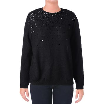 DKNY Womens Wool Blend Sequined Pullover Sweater