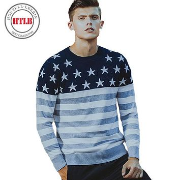 HTLB Brand 2017 new autumn winter causal striped sweater men slim fit 100% cotton kintwear M920