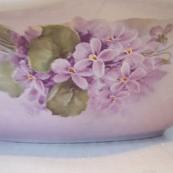 Vintage Ceramic, Porcelain China, Glass Serving Dish, Lavender Violets, Floral, Purple. White, Gold Etching on top. Bowl