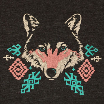 Wolf - Unisex / Mens T-shirt Tee Shirt Navajo Native American Indian Geometric Print Pattern Turquoise Blue Charcoal Tri Black Tshirt