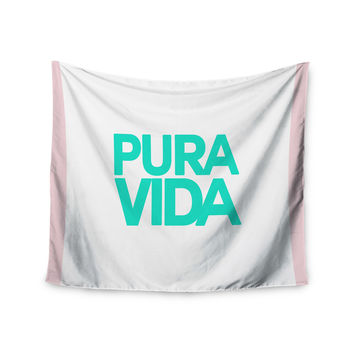 "Geordanna Cordero-Fields ""Turquoise Pura Vida"" Blue White Wall Tapestry"