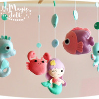Under sea baby mobile ocean crib mobile Mermaid with ocean creatures nursery decor Shower gift Sea creatures nursery Mermaid crab Sea horse