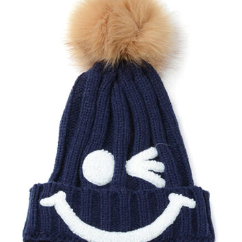 Navy Smiley Knitted Ball Top Beanie