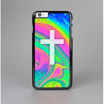 The Vector White Cross v2 over Neon Color Fushion V3 Skin-Sert for the Apple iPhone 6 Plus Skin-Sert Case