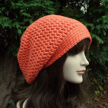 Coral Slouch Beanie - Womens Slouchy Crochet Hat - Ladies Orange Oversized Cap - Chunky Hat