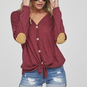 Button Up Knit Top with Elbow Patch - Burgundy