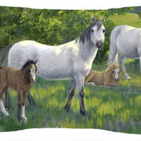 Group of Horses Fabric Decorative Pillow ASA2195PW1216