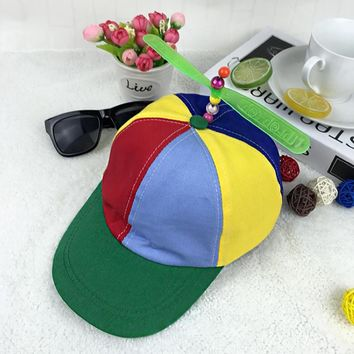 Korean Adult Child Adjustable Propeller Ball Baseball Cap Hat Dragonfly Top Multi-Color Patchwork Funny Clown Sun Cap Costume
