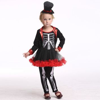 Kids Girls Skeleton Costume Children Cosplay Skull Bone Jangles Costumes Halloween Clothing Bone Skeleton Clothes 3-9 Years