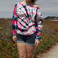Navy and Hot Pink Tie Dye Sweatshirt - Off the Shoulder - Wide Neck Sweatshirt