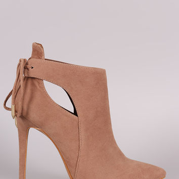 Shoe Republic LA Back Lace-Tie Stiletto Booties