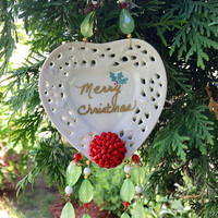 Repurposed Christmas Ornament, Upcycled Christmas Decor, Wall Hanging, Recycled Jewelry Ornament, Garden Decor, Holiday Decoration, Heart