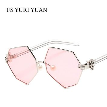 Square Women Sunglasses Pearl Hexagon sunglasses Mirror Retro Women's Luxury Glasses Skull