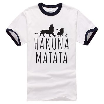 2017 new brand clothing HAKUNA MATATA Men's T Shirts Raglan Sleeve Slim Fitness Tops Male t-shirt jumper funny drake t-shirt men