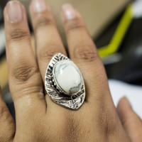 Bohemian Gypsy inspired leaf shaped ring with white stone
