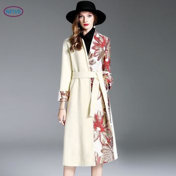 NFIVE Brand 2017 Women's Thick Lengthened Coats Fashion European And American Autumn Winter Flower Embroidered Wool Elegant Coat