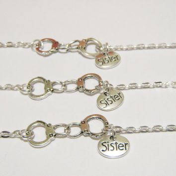 3 Partners In Crime Handcuff Sister Best Friend Bracelets BFF Sisters