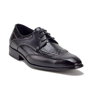 Men's 19130 Wing Tip Pinstripe Texture Lace Up Oxfords Dress Shoes