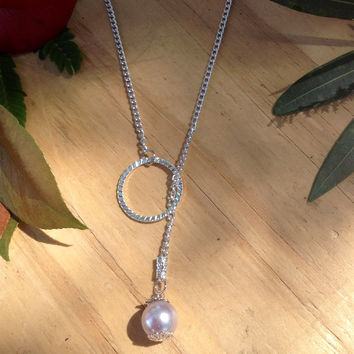 Pink pearl lariat necklace with silver chain 12""