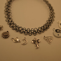 Choose Your Charm Custom Tattoo Choker 90's Necklace (Yin Yang-Moon-Saturn-Pizza-Flower-Spider-Elephant-Pentagram)