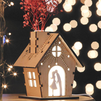 House shaped wooden miniature silhouette night lamp table light/Dried flower base fragrance diffuser/Custom picture frame photo laser cut