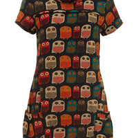 Birds / Owl print womens mens ladies  cowl neck tunic stretchy dress