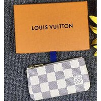LV Louis Vuitton canvas key bag F White Plaid