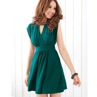 Fashionable Sexy Y Neck Manual Bead Dress Green, Buy Fashionable Sexy Y Neck Manual Bead Dress Green with cheapest price|wholesale-dress.net